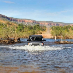 Crossing the Pentacost River, Kimberley,Western Australia